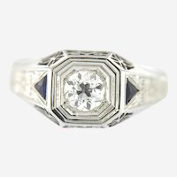 Men's 18kt Art Deco  0.80 ct Old European Cut Diamond Sapphire Ring