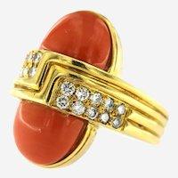 Retro 18kt Gold Fine Coral & Diamond R.Stone Designer Ring