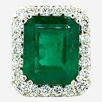 20.02 ct Emerald & Diamond Ring in 18kt White Gold
