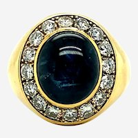 Burma Sapphire & Diamonds Men's Ring, Circa 1970