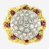 Circa 1960 Diamonds & Ruby 18kt domed Cocktail Ring
