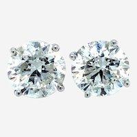 6.31 Carats Diamond Studs Earrings 18k White Gold