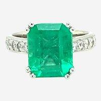 4.41 ct Emerald & Diamond Platinum Ring