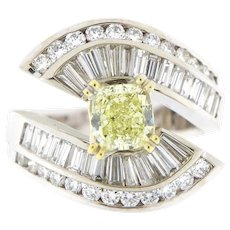 4 ct Fancy Yellow & White Diamonds Engagement Ring, G.I.A Cert, 18kt Gold