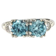 Platinum Art Deco Blue Zircon Diamond Ring, Circa 1930