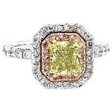 1.85 Carat GIA Fancy Intense Yellow & Pink Diamond Ring 18kt Gold