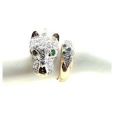 14k Gold Panther Ring, Bead Set with 1.35 ct Diamonds, Tsavorite Eyes.