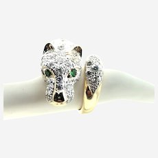 14k Gold Panther Ring, Bead Set with 1.35 ct Diamonds, Tsavorite Eyes.