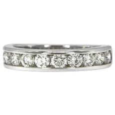 1 ct Diamond Band in 14 kt White Gold, Top Quality.