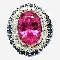 20.00 ct Tourmaline & Diamond Sapphire Ring, 18kt White Gold
