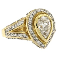 Estate 2.23 ctw Diamonds Ring in 14 kt Yellow Gold, Circa 1980s