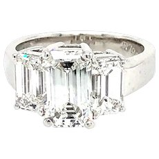 GIA 3.51 Carats E Vs1  Emerald Cut 3 Diamonds Ring Platinum