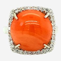 8.65 ct Coral & Diamond Ring in 18kt White Gold