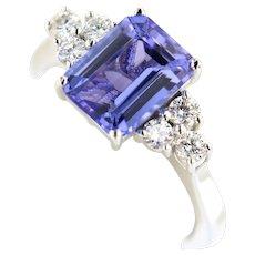 Italian 2.86 ctw Tanzanite & Diamonds 18kt White Gold Gemstone Cocktail Ring