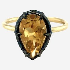 Antique Style Solitaire Ring in 14k Gold & Silver Patina Top with Citrine Gemstone
