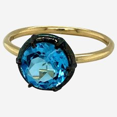 Blue Topaz in Silver Patina Basket and 14kt Yellow Gold Georgian Style Solitaire Ring