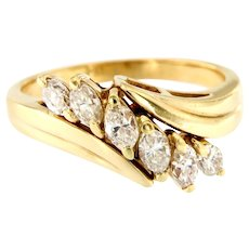 Lovely Marquise Diamond Ring Band 14kt Gold