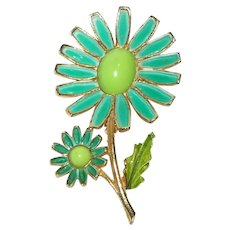 Vintage Weiss Lime Green Double Daisy Enameled Flower Brooch Pin