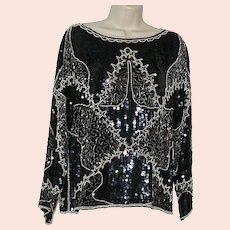 Vintage Sequin Beaded Silk Blouse Size Large by Medelia, Black Sequin Blouse, Silk Blouse