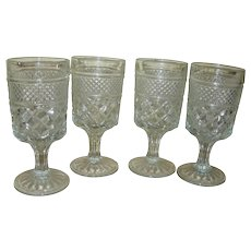 Set of 4 Anchor Hocking Wexford Stemmed Wexford Glasses, Anchor Hocking Glass, Drinking Glasses, Vintage Glass Goblet, Wine Juice or Water Glasses
