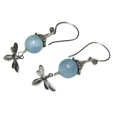Aquamarine Bead and Sterling Silver Earrings With Bee's