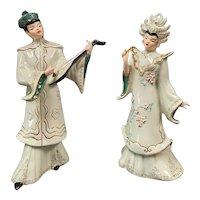 Vintage Florence Porcelain Oriental Couple Figurine