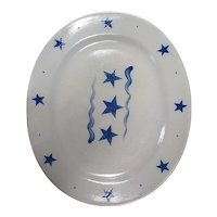 Rowe Pottery Star Pattern Oval Platter