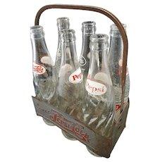 Vintage Metal Pepsi:Cola Six Pack Carrier W/ Bottles