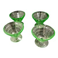 "Depression Glass Green ""Block Optic"" Custard Dishes"