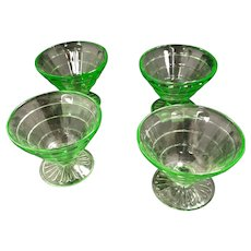 "Depression Glass Green ""Block Optic"" Custard Dishes"