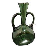 Vintage Empoli Blown Glass Green Double Handled Vase Mid Century Modern