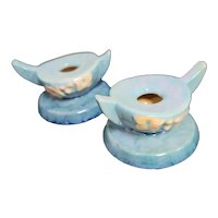 Roseville Pottery Wincraft Blue Candle Holders