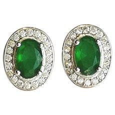 Sterling Silver CZ Emerald CZ Stud Earrings May Birthstone