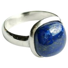 Lapis Lazuli in Sterling Silver Ring size 7 Modernist