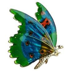 Vintage Enamel Blue Butterfly Brooch Pin