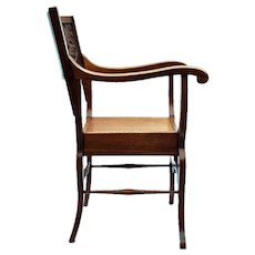 Highly Carved American Oak Curule Chair with Visage