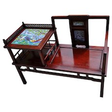 Vintage Asian Telephone Table With Chair Circa 1950