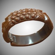 1940s Carved Brown Bakelite Hinged Clamper Bracelet
