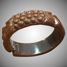 1940s Carved Brown Bakelite Hinged Clamper Bracelet