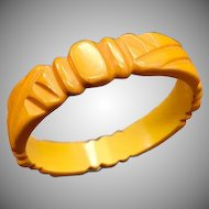 Unique and Intricate 1930s 1940s Geometric Carved Bakelite Bracelet in Butterscotch Yellow
