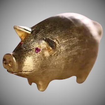 1960s 14k Yellow and White Gold Pig Pin with Ruby Eyes Collectible Brooch
