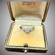 1930s Platinum Engagement Ring with Old European Cut .25 Carat Diamond Center