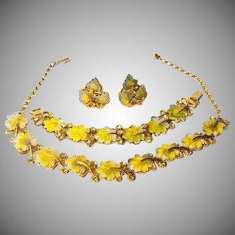 Designer Florenza 1950s Poured Glass Leaf Costume Jewelry Set