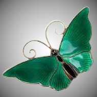 Vintage David Andersen Norway Sterling Silver 925 Green Guilloche Butterfly Pin Brooch