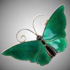 Vintage David Andersen Norway Sterling Silver 925 Green Guilloche Butterfly Pin Brooch