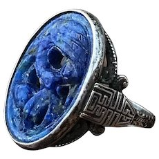 Antique Art Nouveau Chinese carved lapis lazuli dancing crane and sterling silver ring