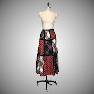 Vintage 1970s tartan plaid wool maxi hostess skirt
