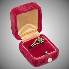 1940s Modernist 18k 750 gold and green peridot solitaire ring in original box