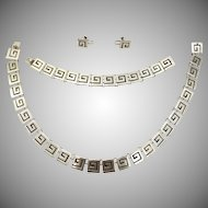 Vintage Sterling Silver 950 Geometric Square Spiral Mexican Jewelry Set