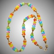 1960s Napier Givre Rainbow Art Glass necklace with costume gold filigree findings